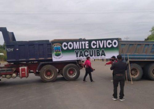 Cívicos del Chaco instalan bloqueo en el cruce de Campo Pajoso